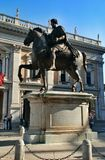 Statue Marco Aurelio in Rome, Italy. Piazza del Campidoglio - Statue Marco Aurelio at the Capitoline Hill in Rome, Italy Stock Photography