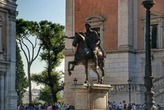 Statue Marco Aurelio in Rome, Italy. Piazza del Campidoglio - Statue Marco Aurelio at the Capitoline Hill in Rome, Italy Royalty Free Stock Images