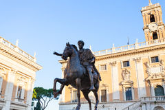 Statue of Marcus Aurelius on Piazza Campidoglio Royalty Free Stock Photo