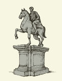 Statue of of Marcus Aurelius. Vector drawing Royalty Free Stock Photos
