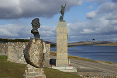 Statue of Margaret Thatcher - Falkland Islands. Statue of Margaret Thatcher next to the Liberation Monument in Stanley, capital of the Falkland Islands stock image