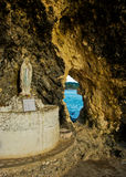 Statue of Maria in a Cliff Cave. In Boracay, Phiippines Royalty Free Stock Images