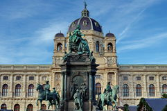 Statue of Maria Theresa and the Museum of Natural History in background - landmark attraction in Vienna, Austria Royalty Free Stock Photography