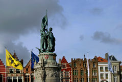 Statue in Markt Square, Bruges Royalty Free Stock Photography