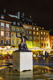 Statue of marmaid at Old Town Market Place in Warsaw, Poland Stock Photos