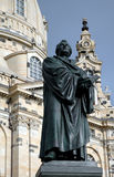 Statue of Martin Luther at Frauenkircke. Statue of Martin Luther with Frauenkircke in background in Dresden, Germany royalty free stock photography