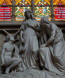 Statue of Mary at Cathedral of St. Michael and St. Gudula Brussels Stock Photo