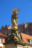 Statue of Mary in Heidelberg. Golden Painted Statue of Marie in Heidelberg old City (Altstadt Royalty Free Stock Image