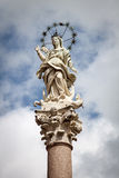 The statue of Mary, mother of Christ, with starry halo in Lucca, Italy. Lucca is a popular destination for tourists, located in Tuscany Stock Photo