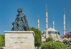 Statue of Master Ottoman Architect Sinan and his finest mosque Selimiye. On the background in Edirne Turkey Royalty Free Stock Photos