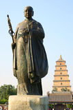 Statue of Master Xuan Zang. Master Xuan Zang is a famous Tang Dynasty monk, he had to study buddhism in India for 17 years, translate buddhist scriptures 1335 Stock Photo