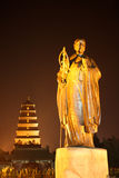 Statue of Master Xuan Zang in night. Master Xuan Zang is a famous Tang Dynasty monk, he had to study buddhism in India for 17 years, translate buddhist Stock Image