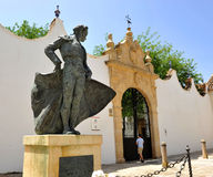 Statue of a matador, torero, in Ronda, Malaga Province, Spain. Bronze sculpture of a bullfighter in front of the bullring of Ronda, Malaga province, Andalusia Stock Photos