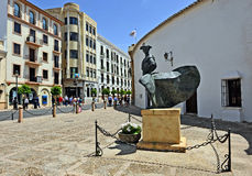Statue of a matador, torero, in Ronda, Malaga Province, Spain. Bronze sculpture of a bullfighter in front of the bullring of Ronda, Malaga province, Andalusia Stock Images