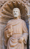 Statue of Matthew the Evangelist at the Church of Haro, La Rioja. 16th Century Statue of Saint Matthew the Evangelist at the Principal Gate of the Church of Royalty Free Stock Photos
