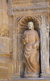 Statue of Matthew the Evangelist at the Church of Haro, La Rioja. 16th Century Statue of Saint Matthew the Evangelist at the Principal Gate of the Church of Royalty Free Stock Photography