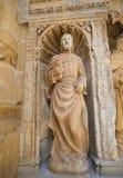 Statue of Matthew the Evangelist at the Church of Haro, La Rioja. 16th Century Statue of Saint Matthew the Evangelist at the Principal Gate of the Church of Stock Photo