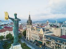 The statue of Medea with the golden fleece topped the high stone column in center of the Europe Square, Batumi, Georgia. Royalty Free Stock Photography