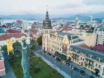 The statue of Medea with the golden fleece topped the high stone column in center of the Europe Square, Batumi, Georgia. Stock Photography