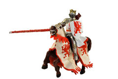 Statue of medieval knight on horse. Isolated on white Stock Photos