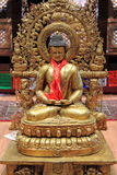 Statue of meditating Buddha. In a nepalese temple Royalty Free Stock Photo