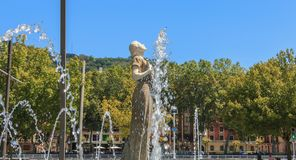 Statue of Melpomene in Greek mythology the muse of singing. Bilbao, Spain - July 19, 2016 : statue of Melpomene, in Greek mythology the muse of singing, carved Stock Image