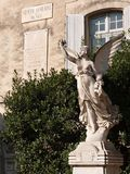 Statue & memorial to Philippe de Girard, engineer. Memorial to a French engineer of Polish descent who invented the first flax spinning frame. Angel statue too Stock Photo