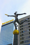 Statue of Mercury on the background of building the World Trade Royalty Free Stock Photo