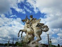 Mercury riding Pegasus. The statue of Mercury riding Pegasus, the entry to Tuileries garden, statue of Coysevox, Paris, France Royalty Free Stock Images