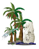 The statue of Merlion near the palm trees Stock Image