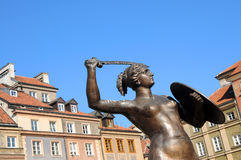 Statue of Mermaid, Old Town in Warsaw, Poland Royalty Free Stock Photography