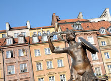 Statue of Mermaid, Old Town in Warsaw, Poland. Mermaid Statue designed by Konstanty Hegel (1799-1896), symbol of Warsaw city, capital of Poland, located in the Royalty Free Stock Photos