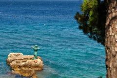 Statue of mermaid in Podgora, Croatia royalty free stock photo
