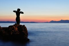 Statue of the mermaid in Podgora in evening Stock Images