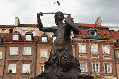Statue of the Mermaid of Warsaw at the Old Town Square in Warsaw Stock Photo