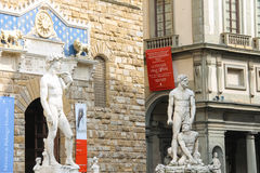Statue of Michelangelo's David, Hercules and Cacus  in Florence Stock Image