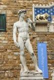 Statue of Michelangelo's David near the museum Palazzo Vecchio Royalty Free Stock Image