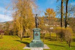 Statue of Micheline Grafin von Almeida, member of noble austrian. Mondsee, Austria - November 5,2017: Statue of Micheline Grafin von Almeida, member of noble Royalty Free Stock Photo