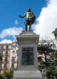 Statue of Miguel de Cervantes. Spanish novelist, poet, and playwright on Plaza de las Cortes in Madrid, Spain Royalty Free Stock Image