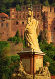 Statue of Minerva on the Old Bridge of Heidelberg Royalty Free Stock Images