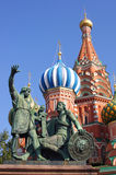 Statue of Minin and Pozharsky in Moscow. Saint Basil Cathedral and Statue of Minin and Pozharsky in Red Square, Moscow, Russia Stock Images