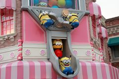Statue of Minions on the shop, at Universal Studios Japan. Minions are famous characters from Despicable Me animation. stock image