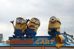 Statue of Minions on the top of the shop, selling Minion Goods, in Universal Studios Japan. stock photos