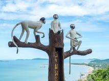 Statue mit drei Affen in Chumphon, Thailand Lizenzfreie Stockfotos