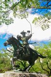 The Statue of Miyamoto no Yoritomo at the Fuji Hongu Sengen Taisha Shrine in Shizuoka, Japan. He was a first shogun during the war. Time in Kamakura period. In royalty free stock image