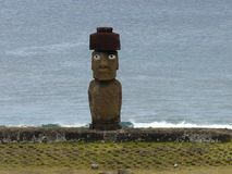 The only statue of Moai with eyes, Easter Island, Chile stock photo