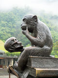 Statue of monkey contemplating death. Statue of a monkey sitting on some books holding a skull, contemplating death. Statue found in front of Huanglong Cave Royalty Free Stock Photography