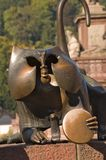 Statue of monkey with mirror, Heidelberg. Germany Royalty Free Stock Images