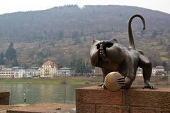 Statue of monkey with mirror, Heidelberg Royalty Free Stock Photography