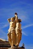 Statue Montpelier mit drei Umgangsformen Stockfotos